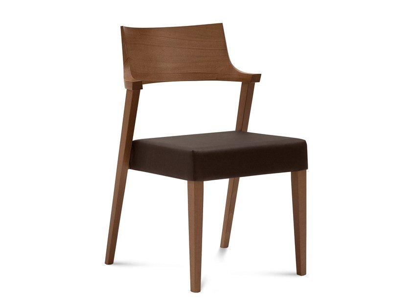 Upholstered wooden chair LIRICA by DOMITALIA