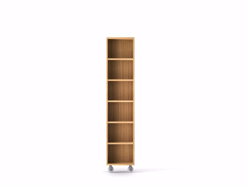 Wooden bookcase with casters LIT221 | Wooden bookcase - Punt