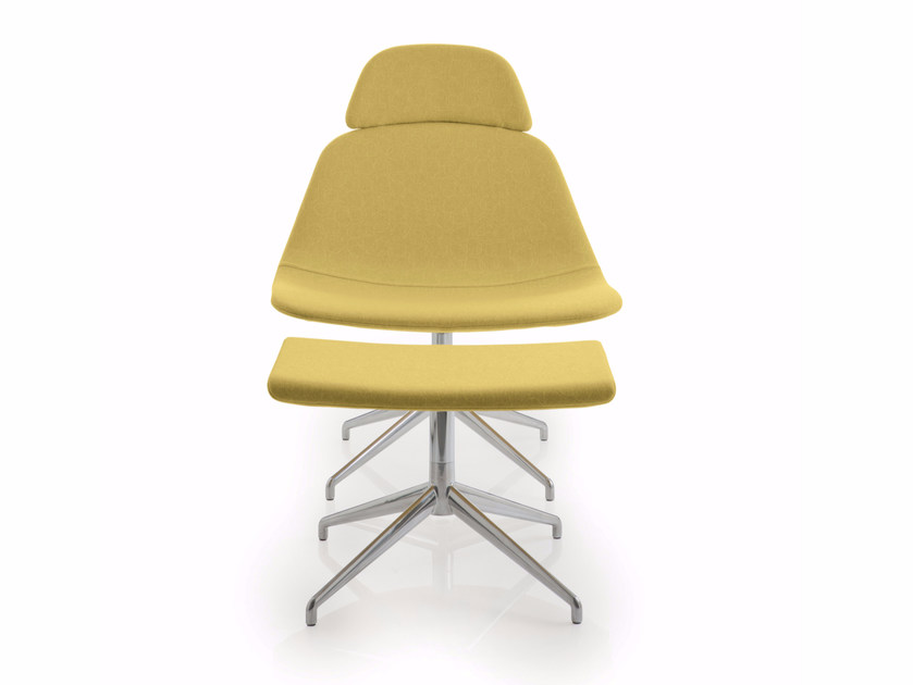 Trestle-based high-back fabric reception chair LLOUNGE | High-back chair - Luxy