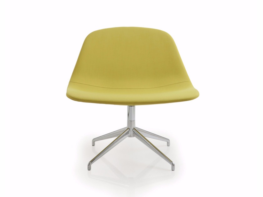 Trestle-based fabric reception chair LLOUNGE | Trestle-based chair - Luxy