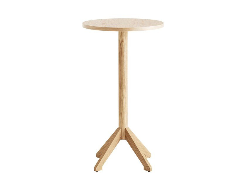 Round wood-product high side table LOCUS | Coffee table by Karl Andersson