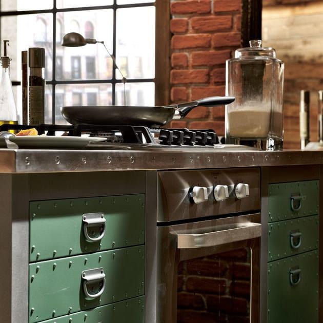 cucina componibile in acciaio inox con isola loft - composizione ... - Cucine Loft