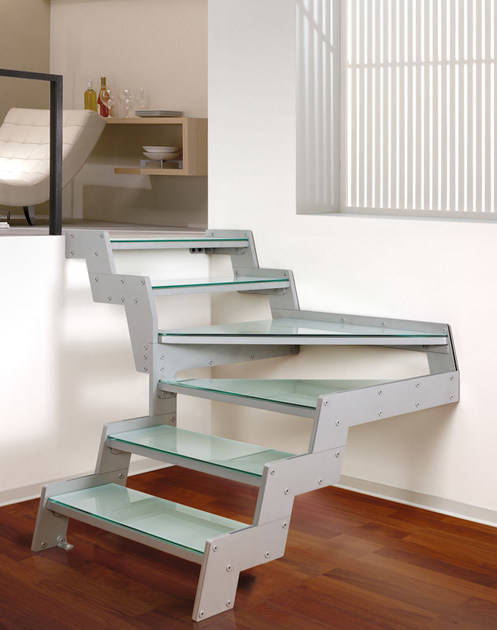 L-shaped glass Open staircase LOFT | L-shaped Open staircase - RINTAL