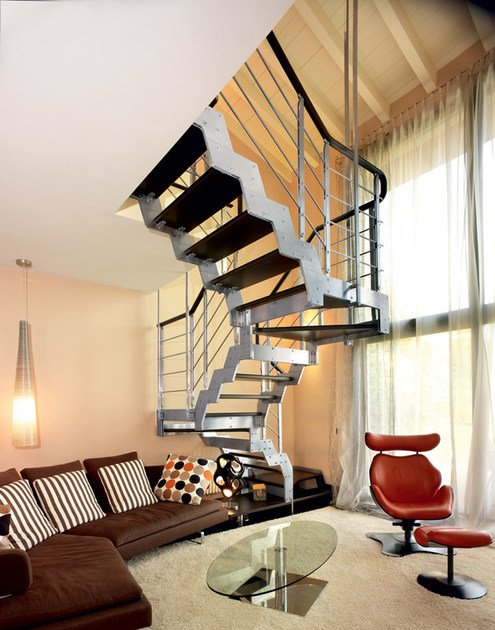 U-shaped self supporting beech Open staircase LOFT | U-shaped Open staircase - RINTAL
