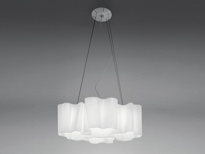 Direct light halogen blown glass pendant lamp LOGICO 4X90° | Pendant lamp - Artemide Italia