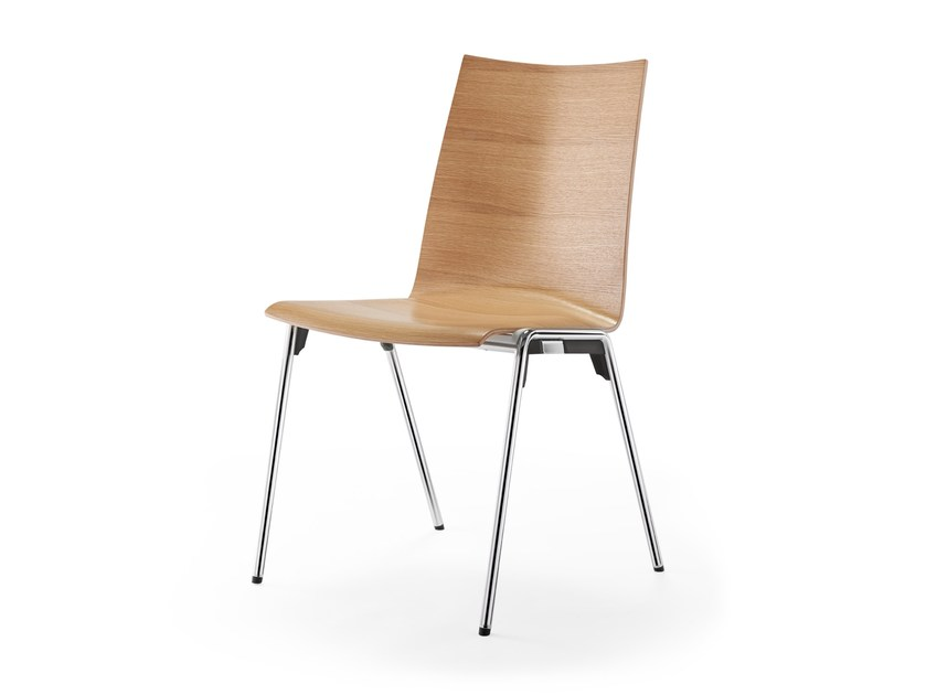 Stackable wood veneer chair LOGOCHAIR | Stackable chair by rosconi