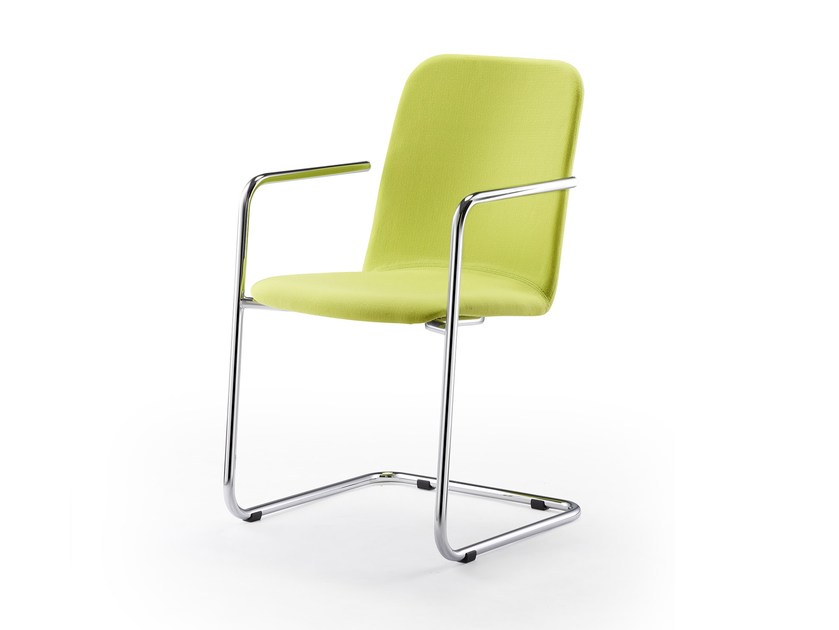 Stackable fabric chair with armrests LOGOCHAIR SWING | Fabric chair by rosconi