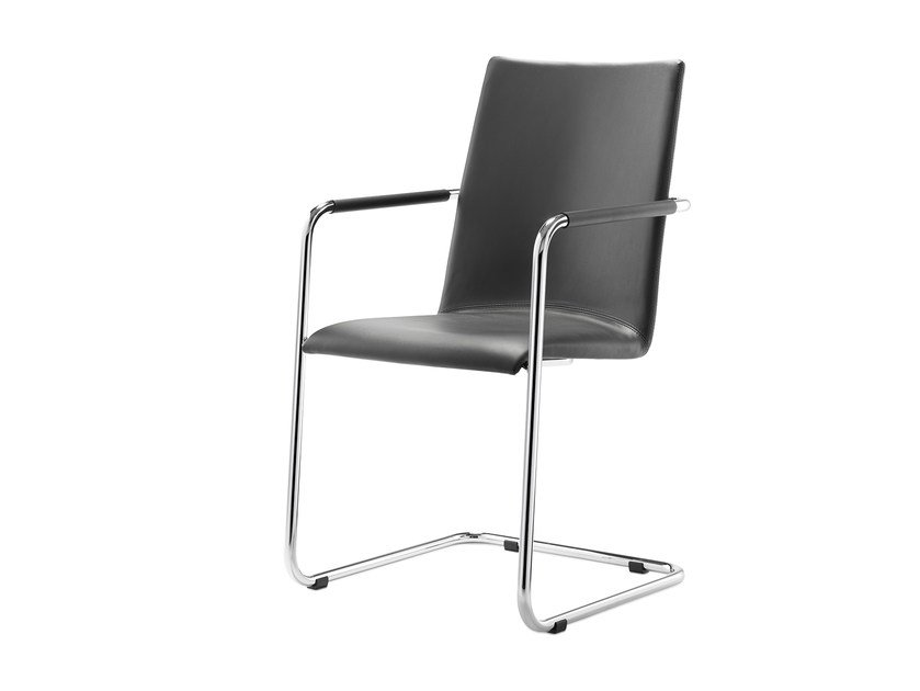 Stackable leather chair with armrests LOGOCHAIR SWING | Leather chair by rosconi
