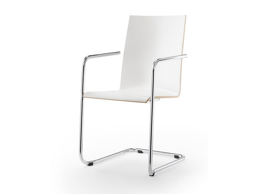 Stackable laminate chair with armrests LOGOCHAIR SWING | Stackable chair by rosconi