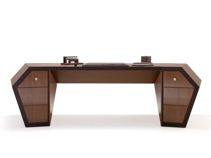 Lacquered wood veneer executive desk with drawers LONG BEACH | Wood veneer office desk - Tonino Lamborghini Casa