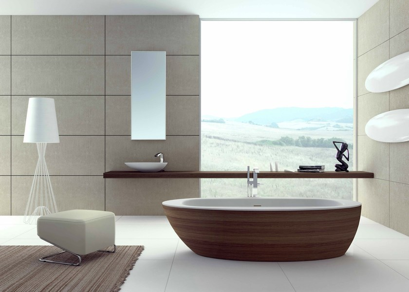 Vasca da bagno ovale in legno loop flora style - Vasca bagno legno ...