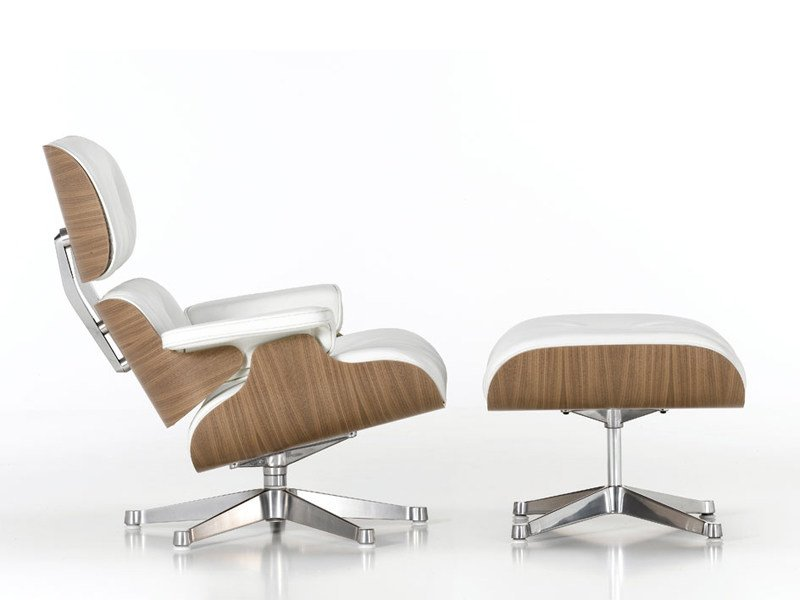 Swivel leather armchair LOUNGE CHAIR & OTTOMAN WHITE VERSION - Vitra