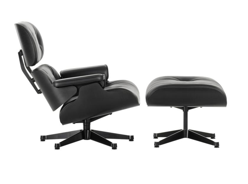 Swivel leather armchair LOUNGE CHAIR & OTTOMAN BLACK VERSION - Vitra
