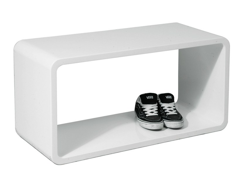 Lacquered MDF side table LOUNGE CUBE WHITE XL - KARE-DESIGN