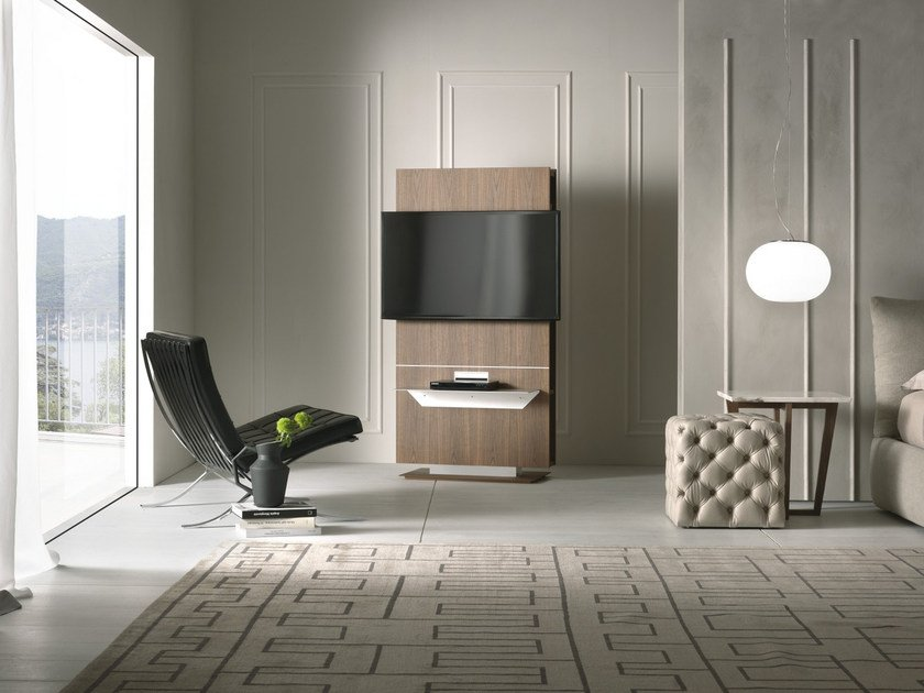Swivel TV cabinet with shelves LOUNGE | TV cabinet - Pacini & Cappellini