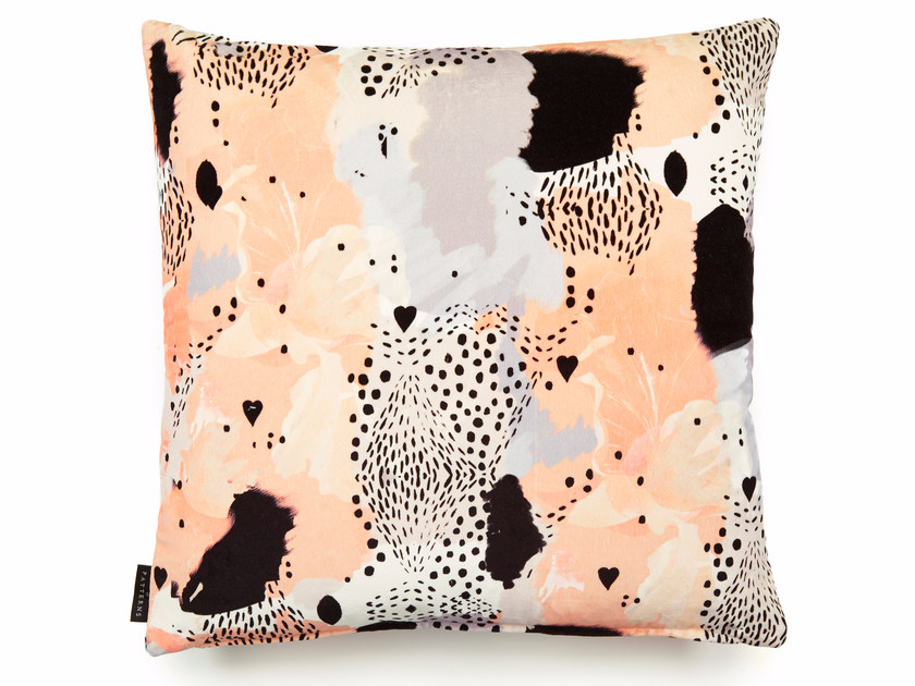 Square cotton cushion with removable cover LOVE LEOPARD | Square cushion by 17 patterns