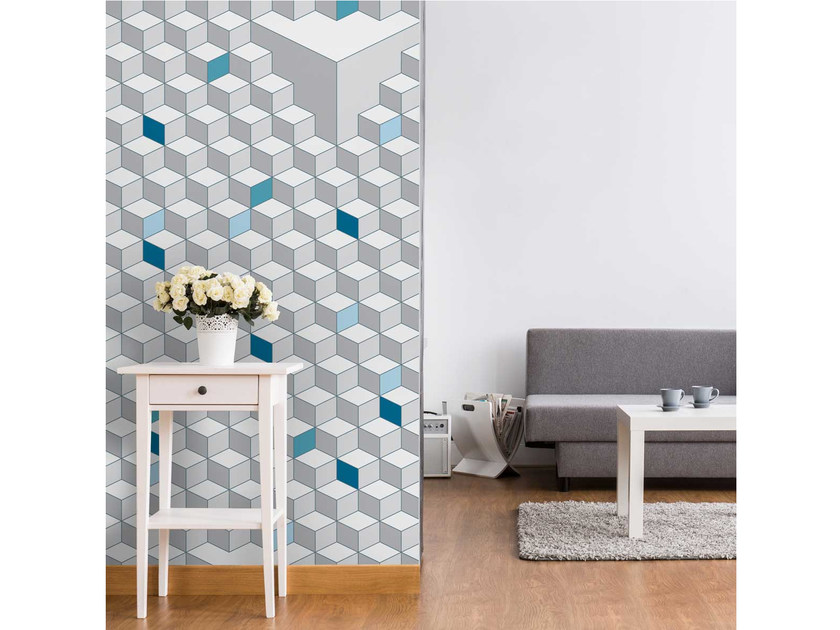 Motif geometric non-woven paper wallpaper strip LU-CUBIC - LGD01