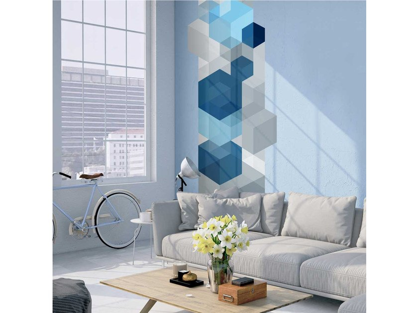 Geometric washable non-woven paper wallpaper strip LU-CUBO 01 - LGD01