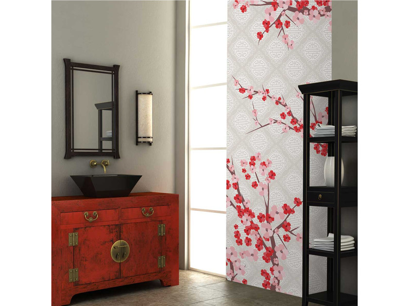 Washable non-woven paper wallpaper strip with floral pattern LU-FLORAISON - LGD01