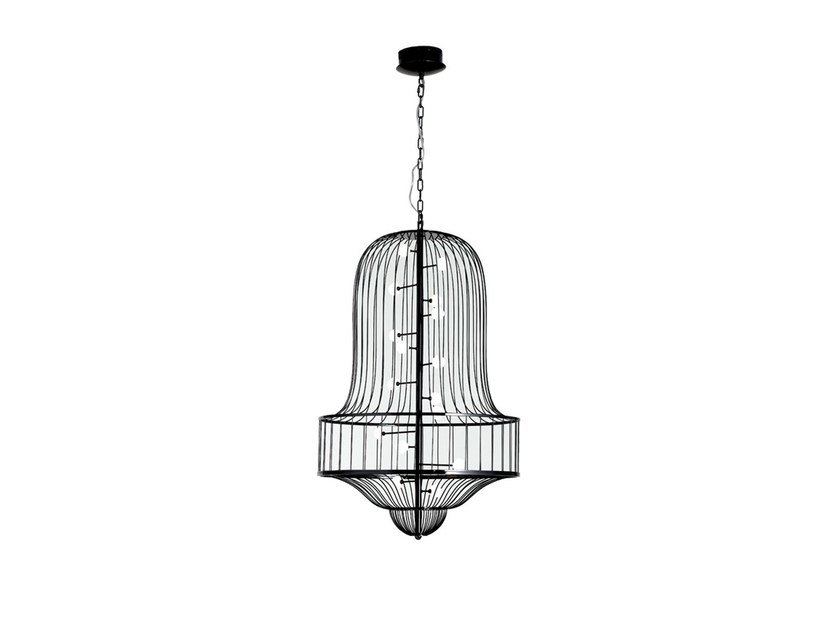 Black chrome plated steel chandelier LUCIOLA - Driade