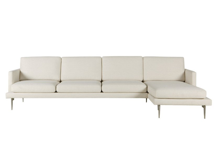 Upholstered 4 seater fabric sofa with chaise longue LUDVIG | Sofa with chaise longue - SITS