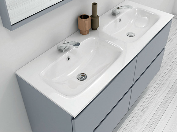 Double Mineralmarmo® washbasin countertop M1   Mineralmarmo® washbasin countertop - INBANI