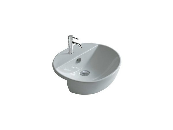 Semi-inset ceramic washbasin M2 - 50 CM | Washbasin - GALASSIA