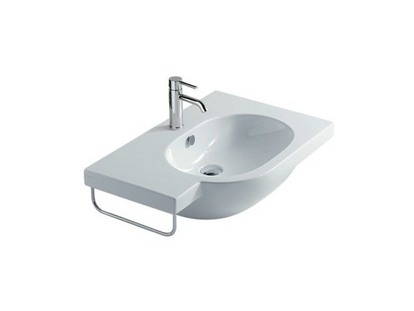 Wall-mounted ceramic washbasin M2 - 75 CM DX | Washbasin - GALASSIA