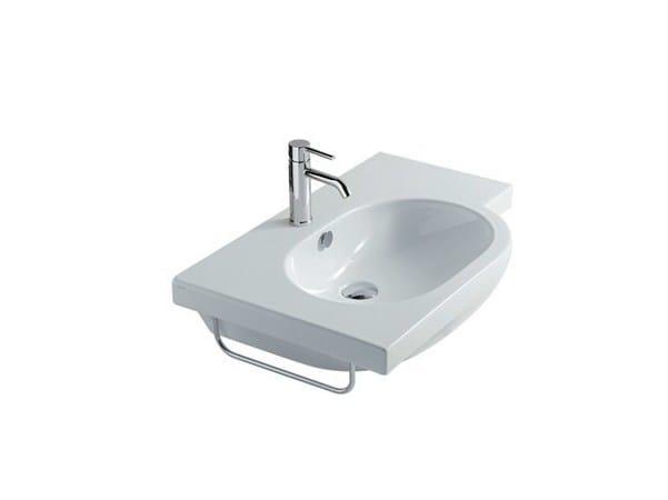Wall-mounted ceramic washbasin M2 - 75 CM SX | Washbasin - GALASSIA