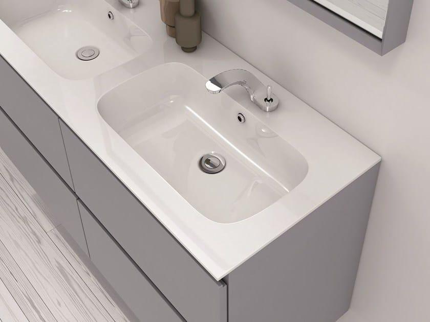Double Mineralmarmo® washbasin countertop M2 | Mineralmarmo® washbasin countertop - INBANI