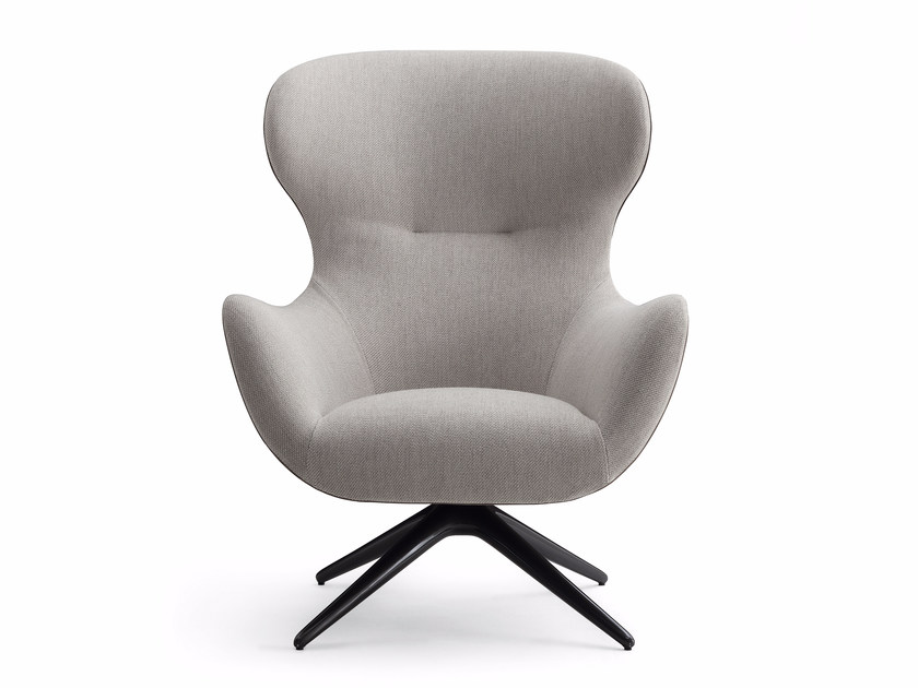 Swivel fabric armchair with 4-spoke base with armrests MAD JOCKER - Poliform