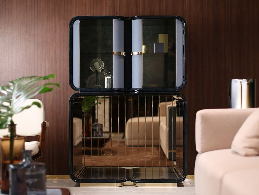 Wood and glass bar cabinet MADISON   Bar cabinet by Turri