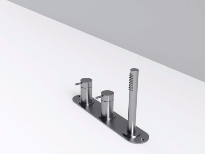 Stainless steel bathtub set with diverter with plate MAE | Bathtub set by Rexa Design