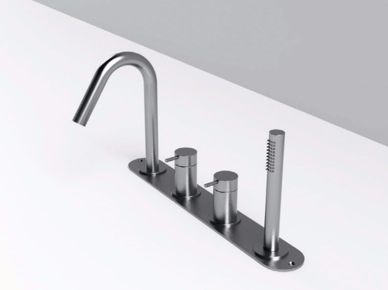 Stainless steel bathtub set with diverter with plate MAE | Bathtub set with plate by Rexa Design