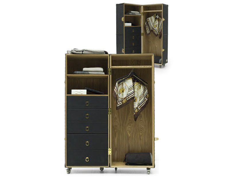 Wooden wardrobe with drawers with casters TRUNK | Wardrobe - Formitalia Group