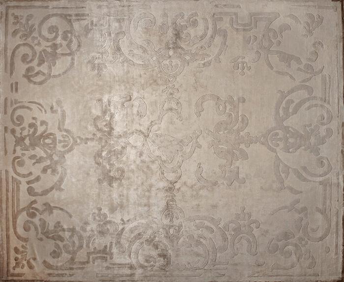 Handmade rectangular custom rug MAGELLAN VINTAGE IVOIRE - EDITION BOUGAINVILLE