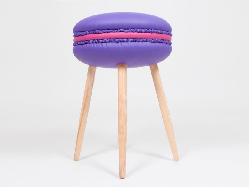 Low upholstered imitation leather stool MAKASTOOL VIOLET S by LI VING