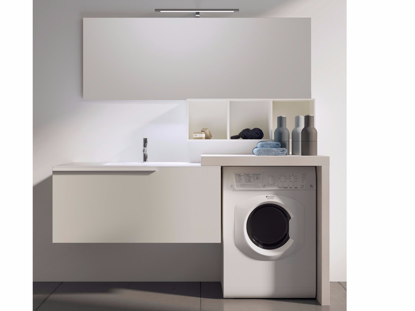 Sectional laundry room cabinet with mirror MAKE WASH 04 by LASA IDEA