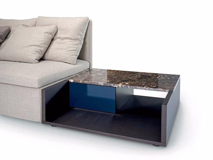 Low square coffee table with storage space MANGOLD | Coffee table - arflex