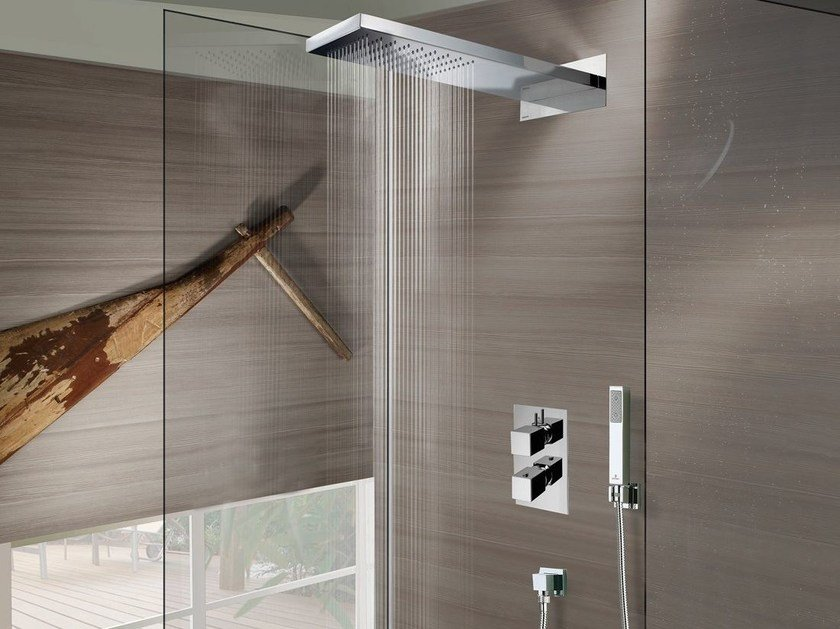 Wall-mounted stainless steel overhead shower Manhattan 1 spray - Bossini