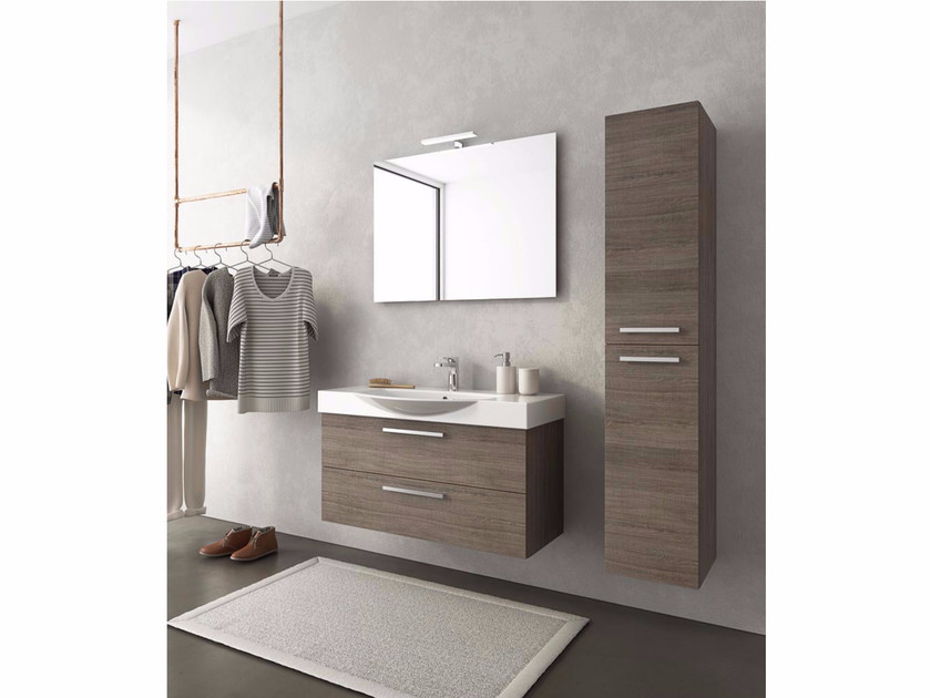 Wall-mounted wooden vanity unit with drawers MANHATTAN M13 by LEGNOBAGNO