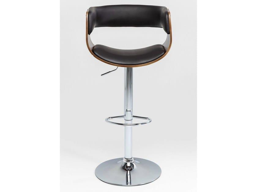 Upholstered height-adjustable barstool MANHATTAN WOOD | Stool - KARE-DESIGN