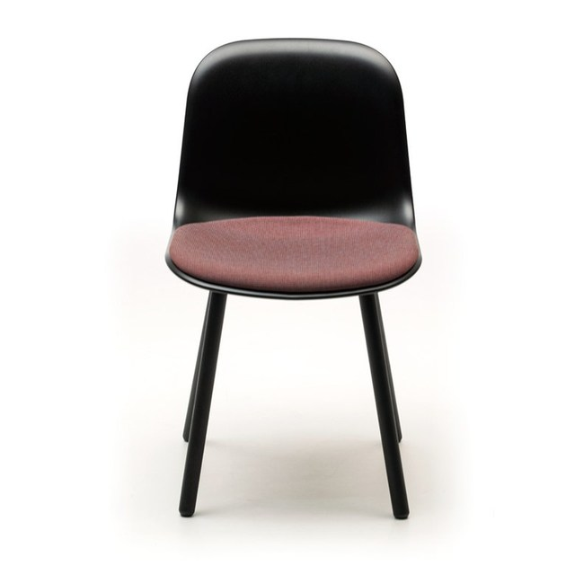 Contemporary style stackable plastic restaurant chair MANI CUSHION 4WL by arrmet