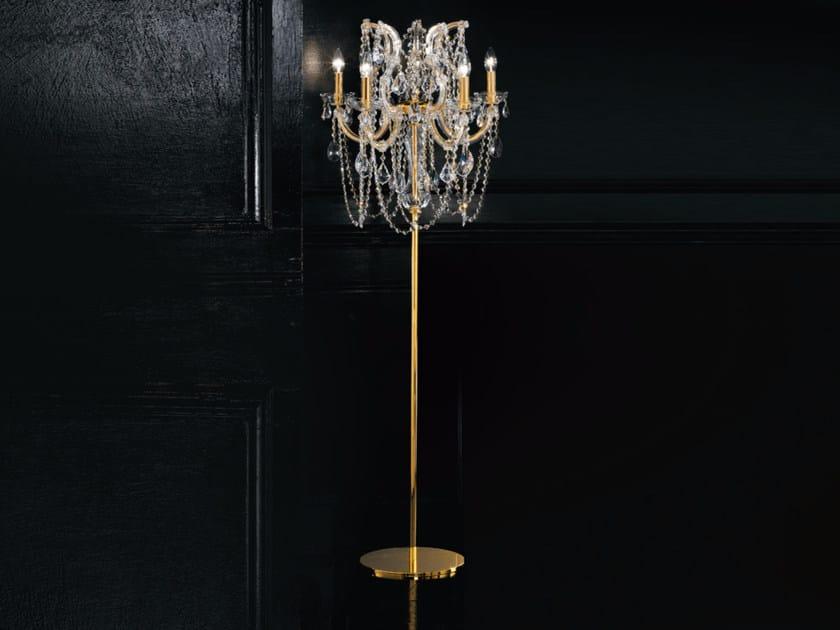 Lampada da terra a luce diretta incandescente in metallo con cristalli MARIA TERESA VE 938 | Lampada da terra - Masiero