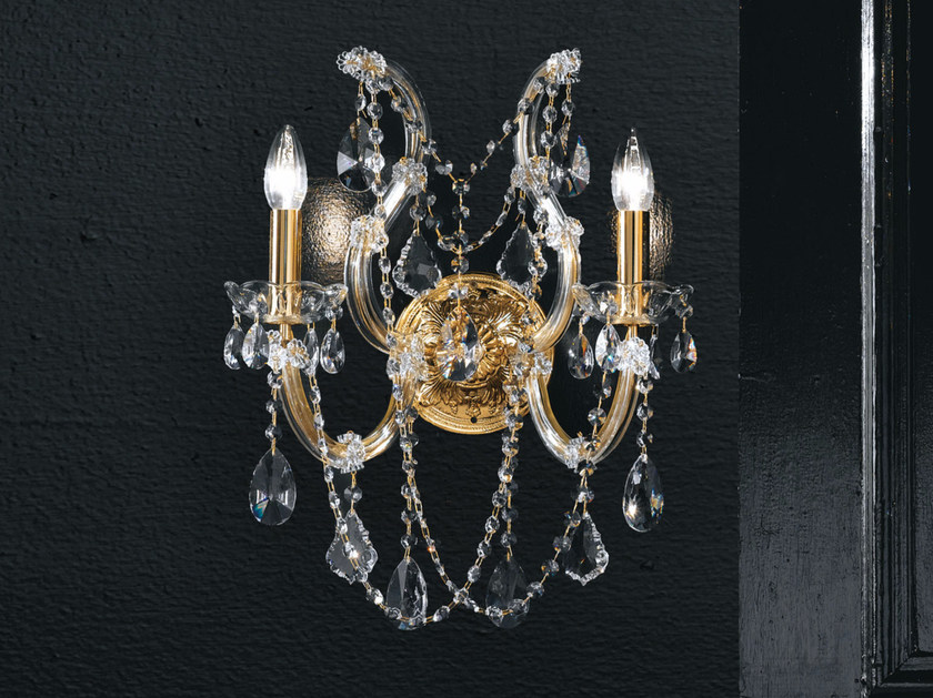 Direct light incandescent metal wall light with crystals MARIA TERESA VE 938 | Wall light - Masiero