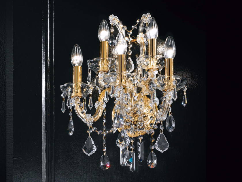 Direct light incandescent metal wall light with crystals MARIA TERESA VE 940 | Wall light - Masiero