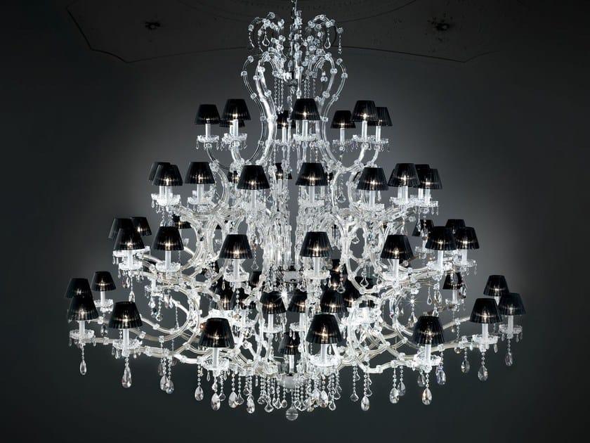 Lampadario a luce diretta in metallo verniciato con cristalli MARIA TERESA VE 902 by Masiero