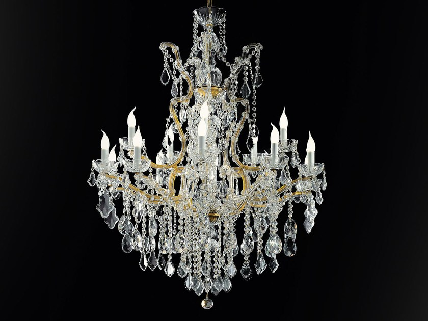 Direct light painted metal chandelier with crystals MARIA TERESA VE 908 by Masiero