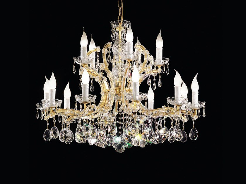 Direct light painted metal chandelier with crystals MARIA TERESA VE 916 by Masiero