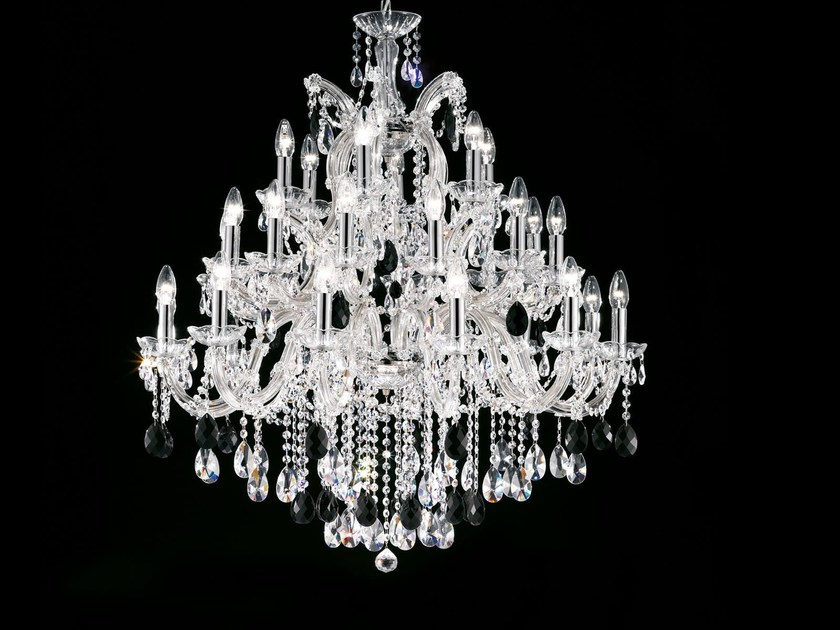 Direct light painted metal chandelier with crystals MARIA TERESA VE 918 by Masiero
